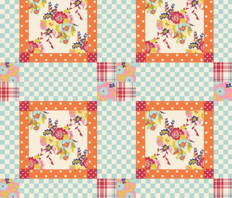 Spring Cheater Quilt Block 3 fabric by lana_gordon_rast_ on Spoonflower - custom fabric