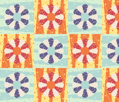 Lazy Dresden Flower Cheater Squares fabric by robyriker on Spoonflower - custom fabric