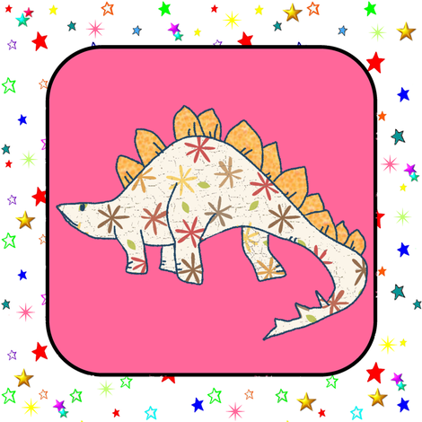 Bohemian Dinosaur | Stegosaurus on Pink and White Colorful Stars Cheater Quilt Block fabric by bohobear on Spoonflower - custom fabric