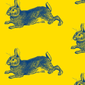 Blue Bunny Rabbit Engraving Blue on Yellow-ch