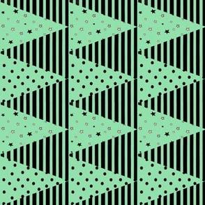 Mint Green Black Triangle Bunting Pennants, Star Spot Stripe
