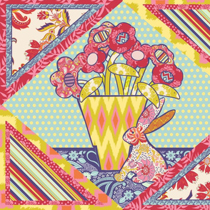 Spring Flowers & Friends Cheater Quilt - Large Scale