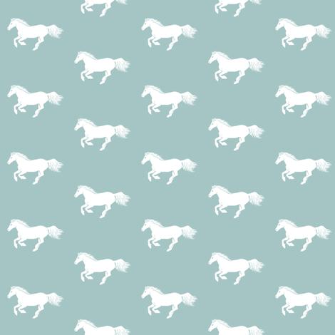 WhitePonyRegencyBlue fabric by thistleandfox on Spoonflower - custom fabric