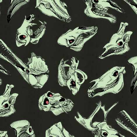 skullpaterngreen fabric by craftyscientists on Spoonflower - custom fabric