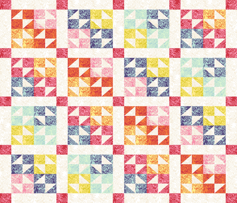 Rainbows of Spring  Cheater_Quilt fabric by house_of_heasman on Spoonflower - custom fabric