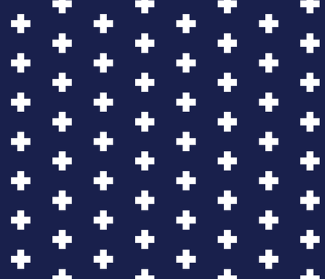 Classic Plus Signs // Crosses + White on Navy fabric by theartwerks on Spoonflower - custom fabric
