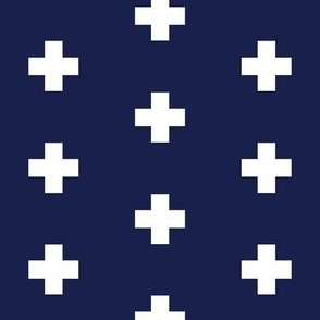 Classic Plus Signs // Crosses + White on Navy