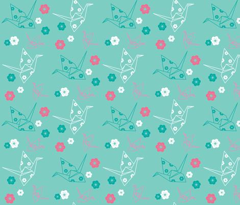 Origami Cranes - Mint fabric by boredinc on Spoonflower - custom fabric