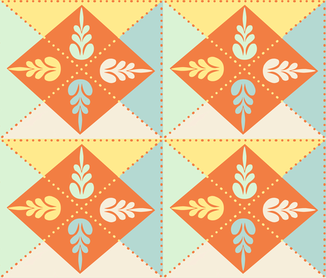 Spring Floral Quilt Block fabric by jabiroo on Spoonflower - custom fabric
