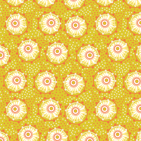 hot paper daisies fabric by cjldesigns on Spoonflower - custom fabric