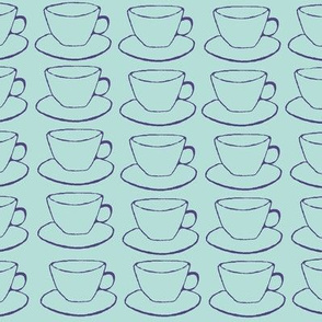 Teacups and Saucers, blue