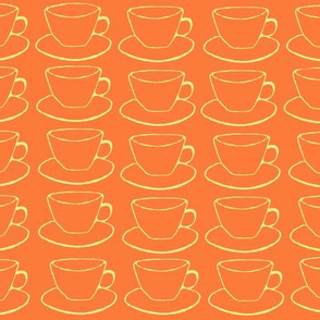 Teacups and Saucers, fall colors orange yellow