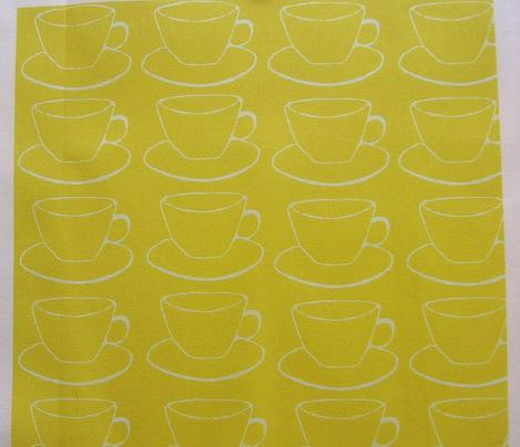 Teacups and Saucers, gold and aqua