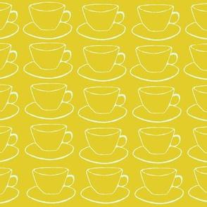 Teacups and Saucers, gold yellow aqua mint