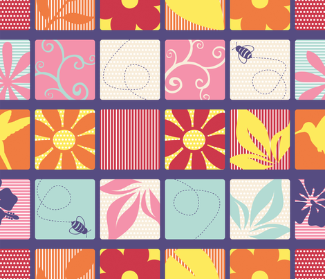 Flowers in Spring-Cheater_Quilt_Block fabric by illustrative_images on Spoonflower - custom fabric