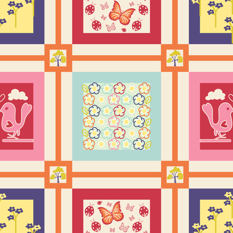 Spring Floral Cheater Quilt Block fabric by sarah_twist on Spoonflower - custom fabric