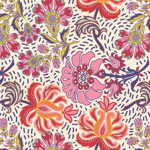 Spring Friends Floral Paisley with dots