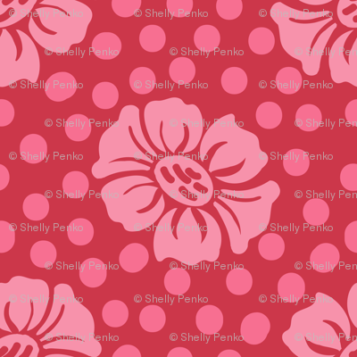 Dotty Flowers in Pink and Red