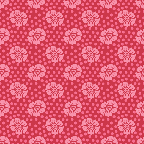 Dotty Flowers in Pink and Red fabric by shellypenko on Spoonflower - custom fabric