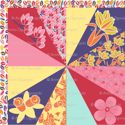 spring flowers cheater quilt
