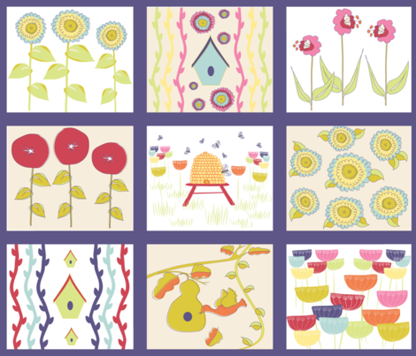 Birds and Bees Spring Cheater Quilt  fabric by vanillabeandesigns on Spoonflower - custom fabric