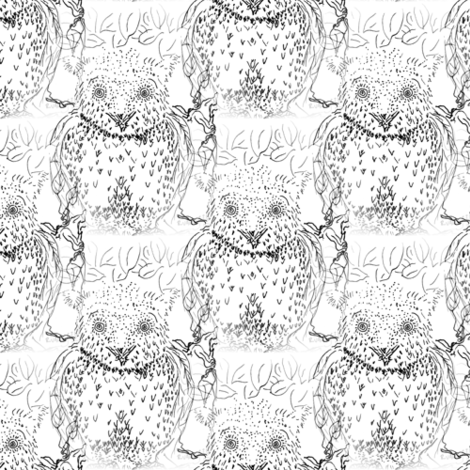 owl toile in black and white fabric by nerdlypainter on Spoonflower - custom fabric