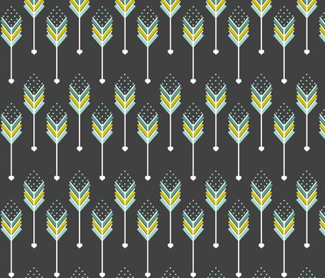 Blue Love Arrows Down fabric by natitys on Spoonflower - custom fabric