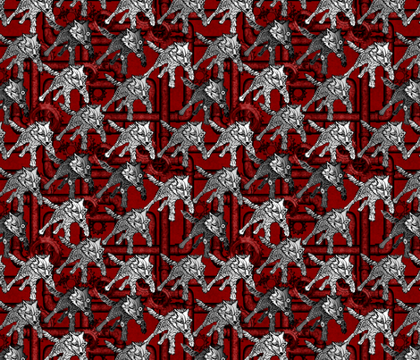 steampunk wolfpack pipes and gears - red fabric by glimmericks on Spoonflower - custom fabric