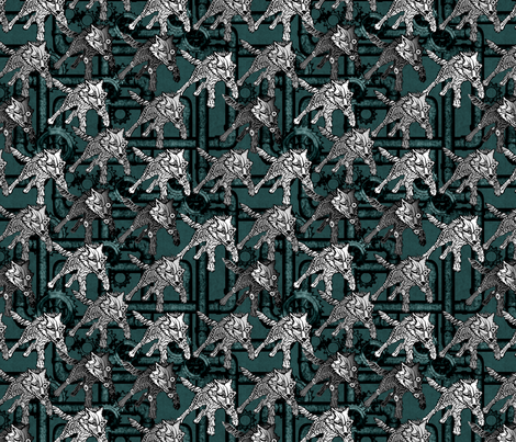 steampunk wolfpack pipes and gears - teal fabric by glimmericks on Spoonflower - custom fabric
