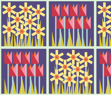 Spring floral cheater quilt block - combo - tulips and daffodils - dark fabric by victorialasher on Spoonflower - custom fabric