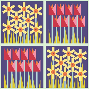 Spring floral cheater quilt block - combo - tulips and daffodils - dark