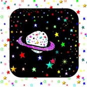 Saturn on Rainbow Starfield Quilt Block Square
