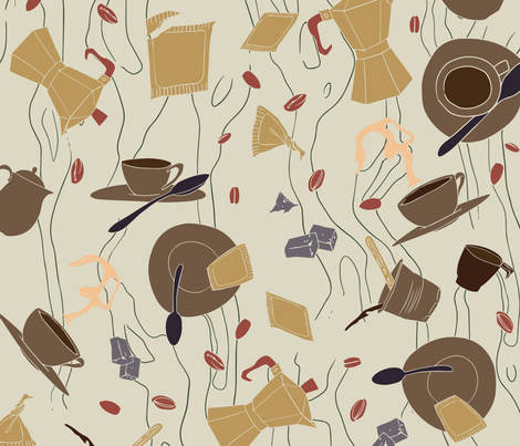 Il Gusto del caffè - Il preferito di Thomas - 03 fabric by aliceelettrica on Spoonflower - custom fabric