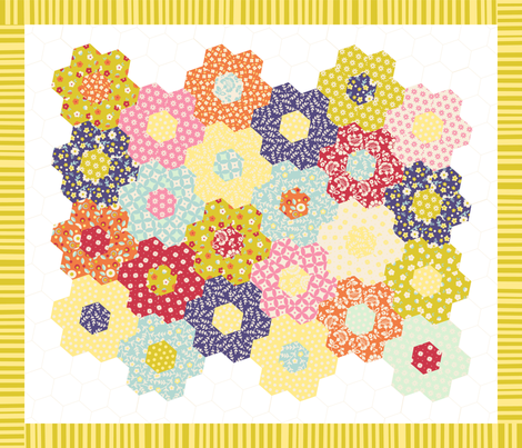 Bloom Cheater Quilt fabric by jenimp on Spoonflower - custom fabric