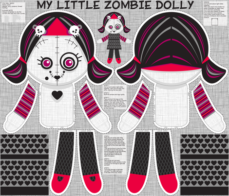 little zombie dolly only fabric by cjldesigns on Spoonflower - custom fabric