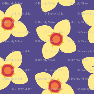Yellow Blossoms in Purple