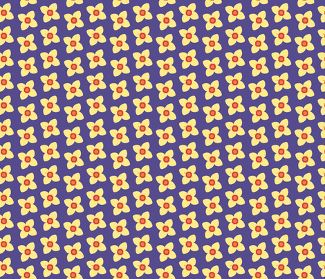 Yellow Blossoms in Purple fabric by brandymiller on Spoonflower - custom fabric
