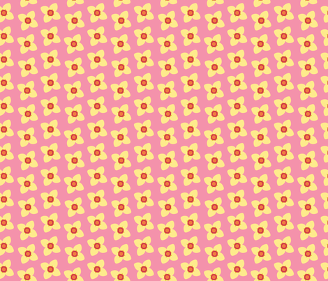 Yellow Blossoms in PInk fabric by brandymiller on Spoonflower - custom fabric