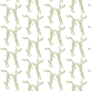 Boxing Hares - Soft Green