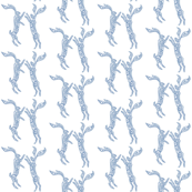 Boxing Hares - Soft Blue