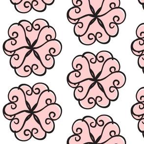 Petal Hearts Large  - pink blk 8x8 dpi