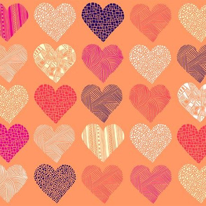 Patterned peachy hearts