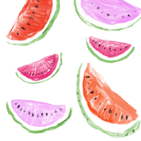 Watercolor Watermelons // White  fabric by theartwerks on Spoonflower - custom fabric