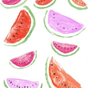 Watercolor Watermelons // White