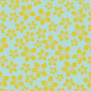Floral Blue Hawaïan/Quilt 1