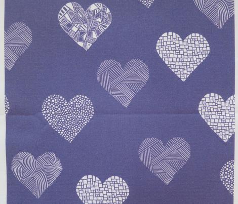 Patterned hearts on purple