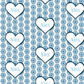 Petal Hearts blue Personalized-