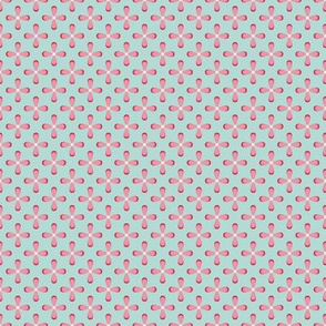Floral Pink checkerboard /Quilt1