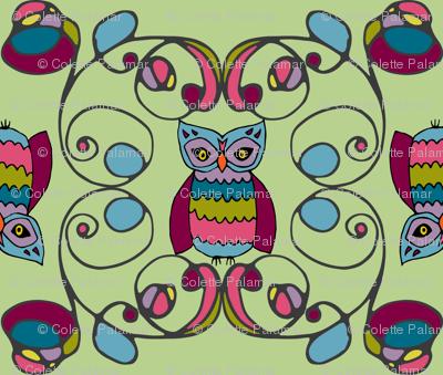 tendril owls in gemtone