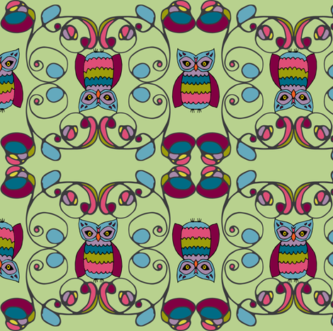 tendril owls in gemtone fabric by ecologies on Spoonflower - custom fabric